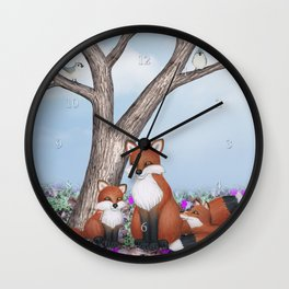fox, cubs and tufted titmice Wall Clock