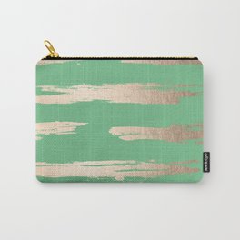 Abstract Paint Stripes Gold Tropical Green Carry-All Pouch