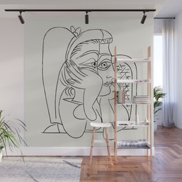 Vintage poster-Pablo Picasso-Linear drawings-Caricature. Wall Mural