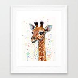 Giraffe Baby Watercolor Framed Art Print