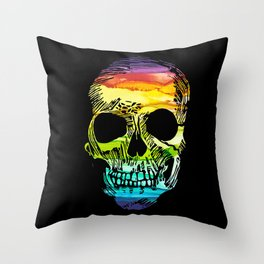 Rainbow Boho Skull I Throw Pillow