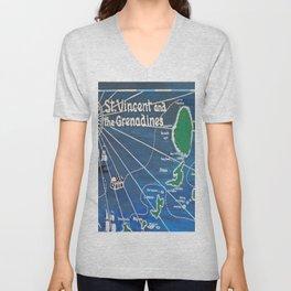 St. Vincent & Grenadines Sailing Map Unisex V-Neck
