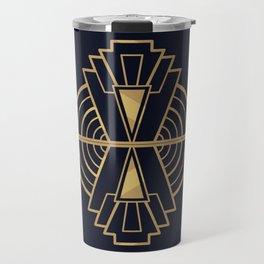 Royal Art Deco - Gold geometry Abstract On Dark Blue Travel Mug