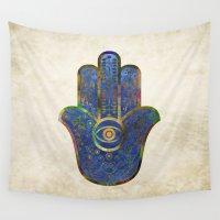 hamsa Wall Tapestries featuring Hamsa 3 by Klara Acel