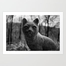 Stone Cold, Lichen Coat, Bed of leafs, this Cool Cat has no cares, or fleas. Art Print