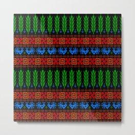 Abundance Force - Spiritual Strength - Bird - Sprouts - Slavic Pagan Symbol - Folk Ornament - Black Metal Print