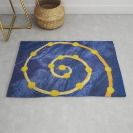 Yellow circle on a blue background made of wool Rug
