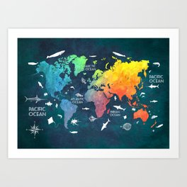 World map art prints society6 ocean world map color map worldmap art print gumiabroncs Choice Image