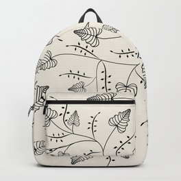 Beautiful herbs. Black and white pattern . Backpack