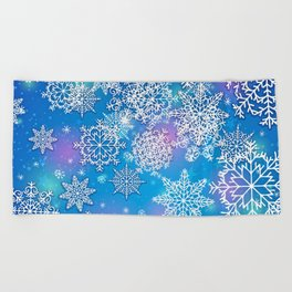 Snowflake background blue purple Beach Towel