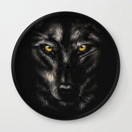 hand-drawing portrait of a black wolf on a black background Wall Clock