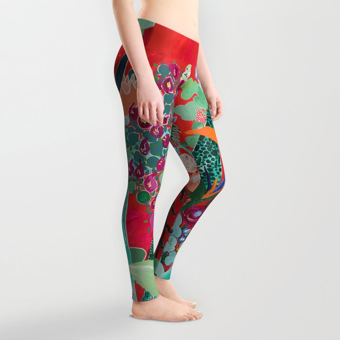 Red floral Jungle Garden Botanical featuring Proteas, Reeds, Eucalyptus, Ferns and Birds of Paradise Leggings