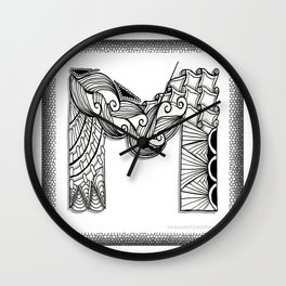 Zentangle M Monogram Alphabet Initials Wall Clock