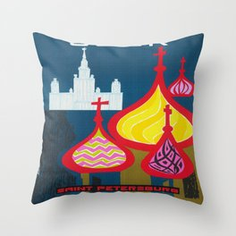 Vintage Saint Petersburg Russia Travel Throw Pillow