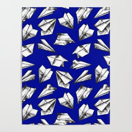 Paper airplane pattern Poster