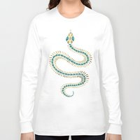 emerald Long Sleeve T-shirts featuring Snake Skeleton – Emerald & Gold by Cat Coquillette