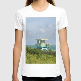 Caribbean Colored Lifeguard Station At Miami Beach T-shirt