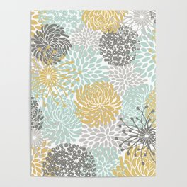 Floral Abstract Print, Yellow, Gray, Aqua Poster