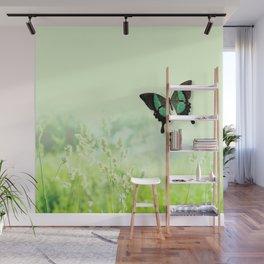 Green Butterfly, Wildflower Meadow, Summer Field Wall Mural