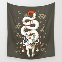 fairy tail Wall Tapestries featuring Long Tail Fox by Freeminds