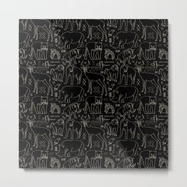 African Animal Mudcloth in Black + Bone Metal Print