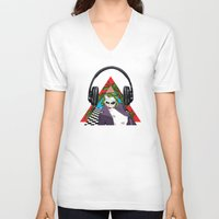 super heroes V-neck T-shirts featuring super heroes by mark ashkenazi