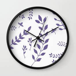 Ultra Violet Leaves Pattern #1 #drawing #decor #art #society6 Wall Clock