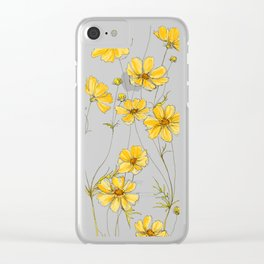 Yellow Cosmos Flowers Clear iPhone Case