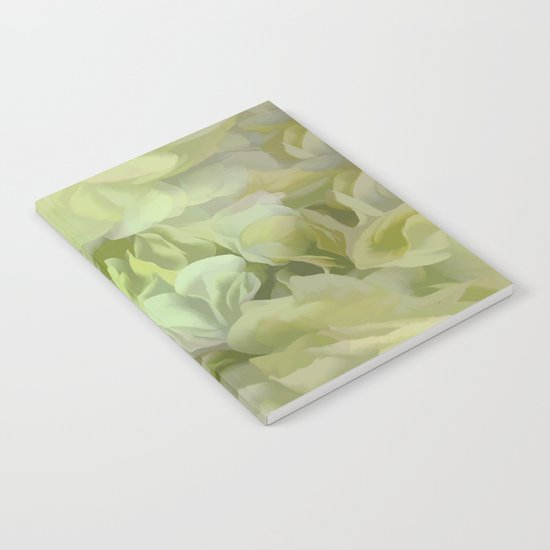 Soft Green Petal Ruffles Abstract Notebook