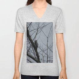 This beautiful little Downy Woodpecker Unisex V-Neck