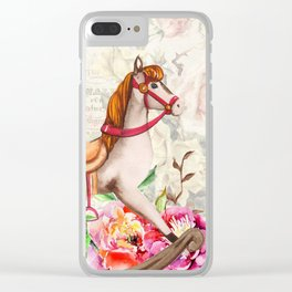 Vintage Collage and Rocking Horse Clear iPhone Case