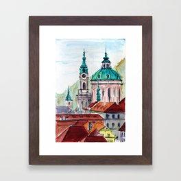 Prague Czech Republic watercolor Framed Art Print