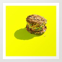 Sprinkle Ice Cream Cookie Sandwich on Yellow Art Print
