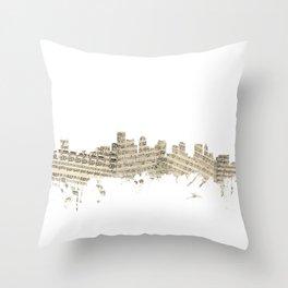 Boston Massachusetts Skyline Sheet Music Cityscape Throw Pillow