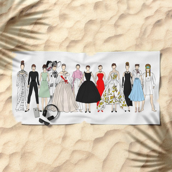 Audrey Hepburn Circle Fashion Beach Towel