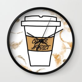 Coffee addict stain Wall Clock