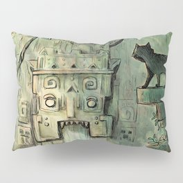 Curious Cat in Ancient Ruins Pillow Sham