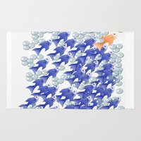 the 100 Area & Throw Rugs featuring 100 fishes by Michelle Behar