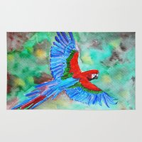 parrot Area & Throw Rugs featuring Parrot by The Traveling Catburys