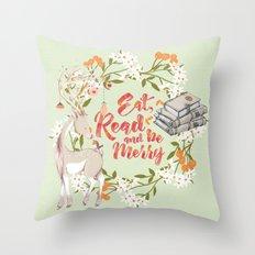 Eat, Read & Be Merry - Deer Throw Pillow
