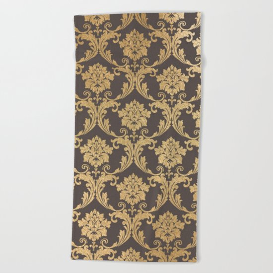 Gold swirls #3 Beach Towel