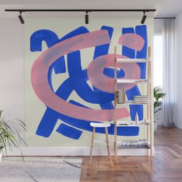 Tribal Pink Blue Fun Colorful Mid Century Modern Abstract Painting Shapes Pattern Wall Mural
