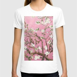 Vincent van Gogh Blossoming Almond Tree (Almond Blossoms) Pink Sky T-shirt