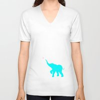 baby elephant V-neck T-shirts featuring Baby Elephant by StudioBlueRoom