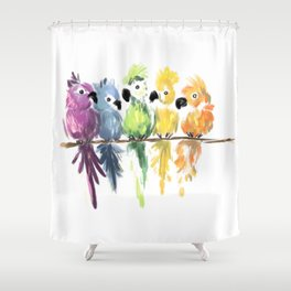 Rainbow Parrot Posse Shower Curtain
