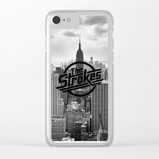 The Strokes Logo New York Black And White Clear iPhone Case