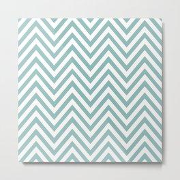 Zigzag Pattern, Chevron Pattern - White Blue Metal Print