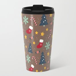 It's Christmas Time Colourful Pattern II Travel Mug