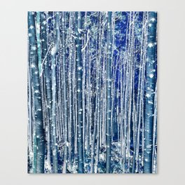 Aspen Trunks Variation No. 2 in Blue Canvas Print