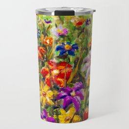 BUY PAINTING SUMMER FLORAL MULTICOLORED FLOWER FIELD - ORIGINAL OIL PAINTING Travel Mug